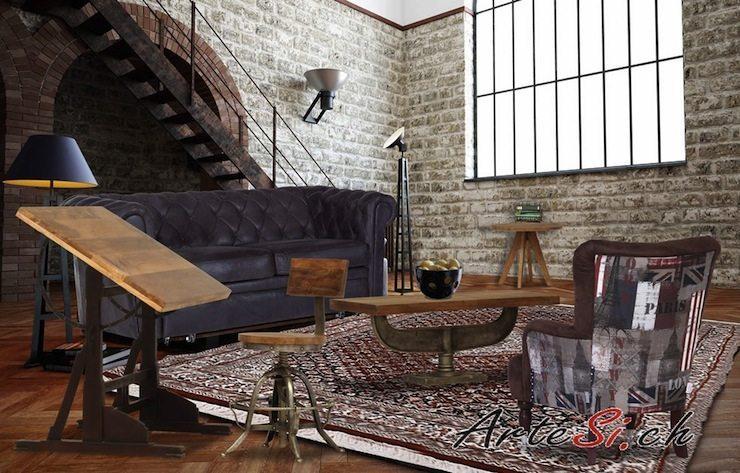 Der WOODSTOCK Barstuhl lässt sich auch in ein gemütliches Wohnzimmer-Ambiente gut einbauen. (Bildquelle: ArteSi.ch)