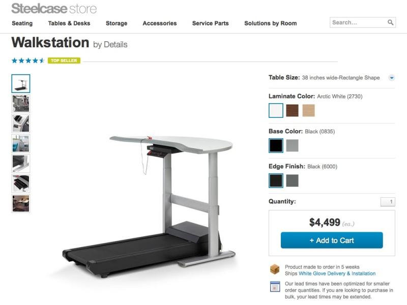 Wer sagt, dass sich Büroarbeit und Fitness ausschliessen? Die Steelcase Walkstation tritt den Gegenbeweis an. (Screenshot: store.steelcase.com/products/treadmill-desks-walkstation)