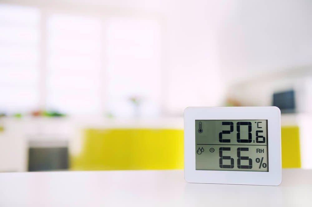 Prüfen Sie die Luftfeuchte in der Wohnung mit einem Hygrometer. (Bild: © likuzia - shutterstock.com)