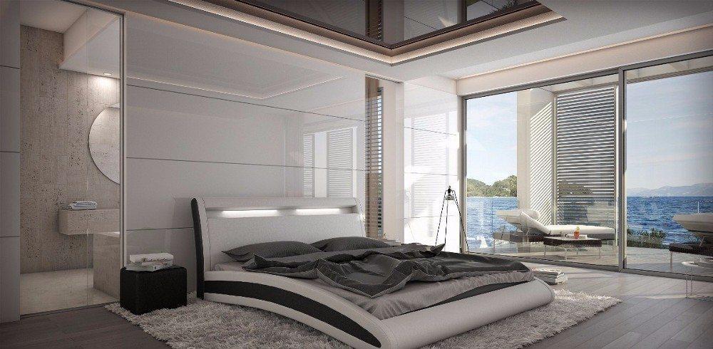 DAMARIS Designer Bett, mit integrierter LED-Kopfteilbeleuchtung, aus dem Sortiment von ArteSi.ch