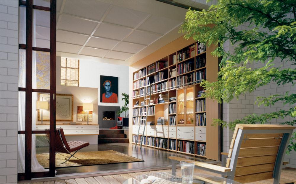 Furnier in der Bibliothek (Bild: IFN/hülsta-werke Hüls GmbH)