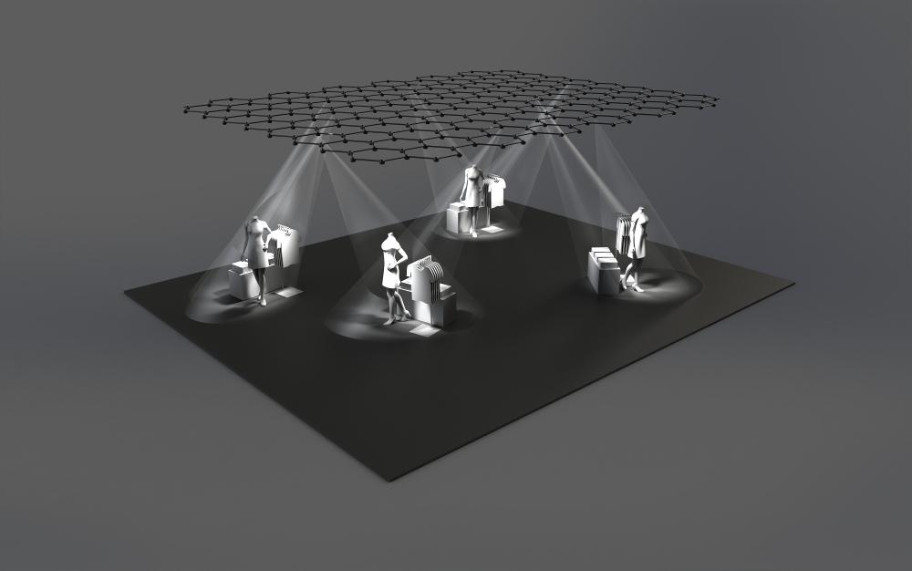 Favo Light Net beleuchtet grossflächige Szenarien, u.a. im Retailbereich, und ist flexibel in der Steuerung. Die Lichtköpfe an den Knotenpunkten sind mit drei LED bestückt. Das System besteht aus einem wärmeleitfähigen Kunststoff; die Masse betragen B 693 mm x H 800 mm (Wabe). Rendering: blocher partners