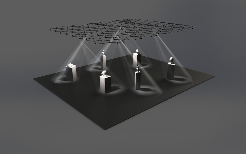 Jede LED des Favo Light Net Systems kann über das eigens entwickelte Web Interface einzeln angesteuert werden. Daraus ergibt sich eine Vielzahl an Möglichkeiten der Lichtinszenierung auf der bespielten Fläche – von einem ruhigen bis hin zu einem bewegten, sogar dramatischen Lichtbild. Rendering: blocher partners