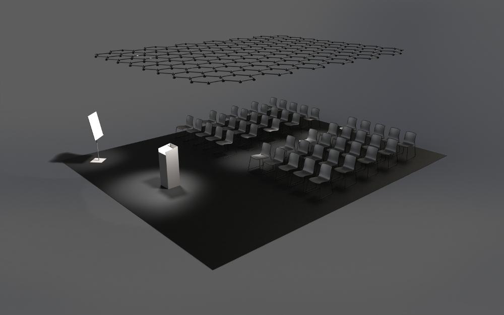 Eines der vielen Szenarien, die eine sensible Beleuchtung erfordern, ist eine Vortragssituation in einem Saal. In dieser Ansicht fokussiert Favo Light Net auf den Vortragenden und das Display. Kaum wahrnehmbar ist auch der Gang zwischen den Sitzreihen aufgehellt. Rendering: blocher partners