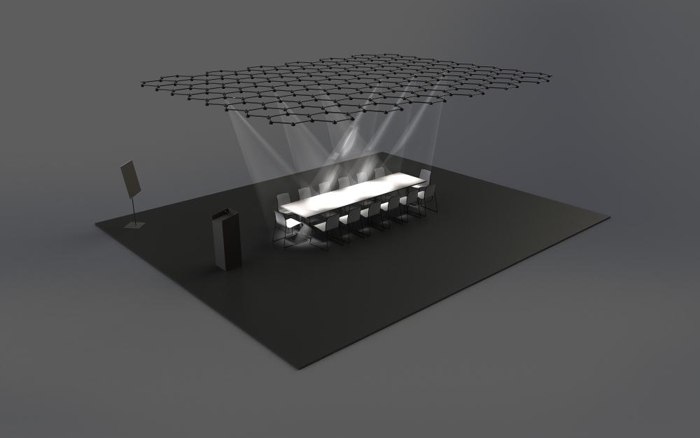Gebündelte Lichtpower. Totale Konzentration am Konferenztisch. Favo Light Net ermöglicht es, aktiv Stimmungen im Raum zu erzeugen und flexibel auf Anforderungen zu reagieren. Rendering: blocher partners