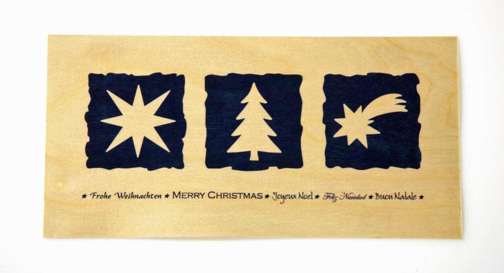 Weihnachtskarte aus Ahorn-Furnier